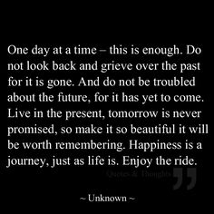 One day at a time – this is enough. Do not look back and grieve over the past for it is gone. And do not be troubled about the future, for it has yet to come. Live in the present, tomorrow is never promised, so make it so beautiful it will be worth remembering. Happiness is a journey, just as life is. Enjoy the ride.