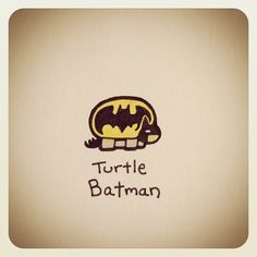 Batmannnn <<< you should have seen my face when I saw this it was like a kid on Christmas morning determined to open every present Cute Turtle Drawings, Animal Drawings, Cool Drawings, Sheldon The Tiny Dinosaur, Kawaii Turtle, Cartoon Turtle, Turtle Love, Cute Turtles, Cute Art