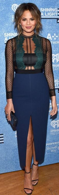 Who made Chrissy Teigen's green, black and blue lace dress?
