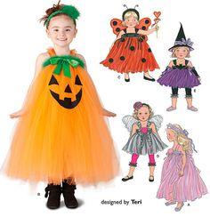 CHILD HALLOWEEN TUTU Costume Pattern - Pumpkin Witch Fairy Princess Lady Bug Costumes
