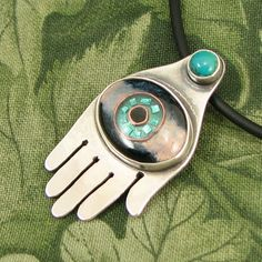 """Enameled Eye in Hand """"The Gift of Foresight"""" Pendant -  Sterling with Turquoise Stone - OOAK by marybird on Etsy"""
