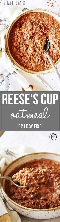Reese's Cup Oatmeal [21 Day Fix] - This chocolate and almond butter oatmeal will make you feel like you are indulging in a decadent treat! Gluten free - http://TheGarlicDiaries.com