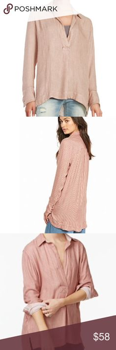 🎉flash sale🎉Free People striped pullover New with tags, Free People oversized striped pullover in a peach combo. Last photo in blue is just to get a better idea of fit/style, but not available in blue. Free People Tops Tunics