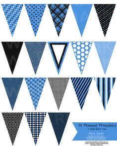 18 BLUE Black and White Pennant Banner Printables! by HuesPrintables, $3.50 String them up as garland on your cakes or as decor for parties or your or your little one's room! $3.50 *Available in any color* #caketoppers #tags #wedding #invitation #birthday #bridal #babyshower #decorations #dessert #table #racecarparty #football #sports #kidsroom #diy #paper #decor #office #classroom