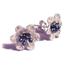 Nera Blums Sterling Silver flower Earrings - oxidized - #handmade #London @catherinemarche http://shop.catherinemarche-designs.com/