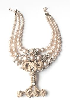 Vintage Graduated Mock Pearl, Antique Braided Rhinestone, Braided and Knotted Silk 1920s, Art Decor, Pearl Necklace, Jewelry Design, Silk, Pearls, Antiques, Vintage, String Of Pearls