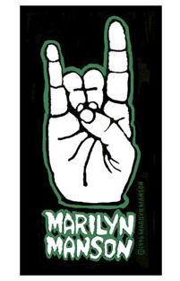 Marilyn Manson Hand Patch. Another one for all you die hard fans.... Sew on hand sign patch in black, white and green. Measuring 10x5cm. Perfect for customizing any bag or pair of jeans. Marilyn Manson is an American musician, artist and former music journalist known for his controversial stage persona. His stage name was formed from juxtaposing the names of two 1960s American cultural icons, namely actress Marilyn Monroe and convicted multiple murder mastermind Charles Manson.