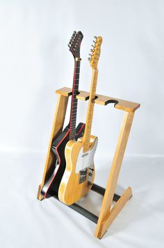 Handcrafted Wooden Guitar Stand from ALLWOOD STANDS- Display up to 3 electric or bass guitars