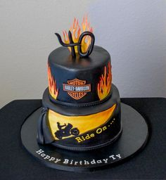 Harley+Davidson+Birthday+Cake+-+Cake+by+RedHeadCakes Biker Birthday, 80th Birthday, Birthday Party Themes, Birthday Ideas, 50th Party, Harley Davidson Cake, Harley Davidson Birthday, Motorcycle Cake, Motorcycle Quotes