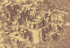 Greybanner (parchment), a region map for D&D / Dungeons & Dragons, Pathfinder, Warhammer and other table top RPGs. Tags: arena, bandit, city, colosseum, region, settlement, theater, town, training