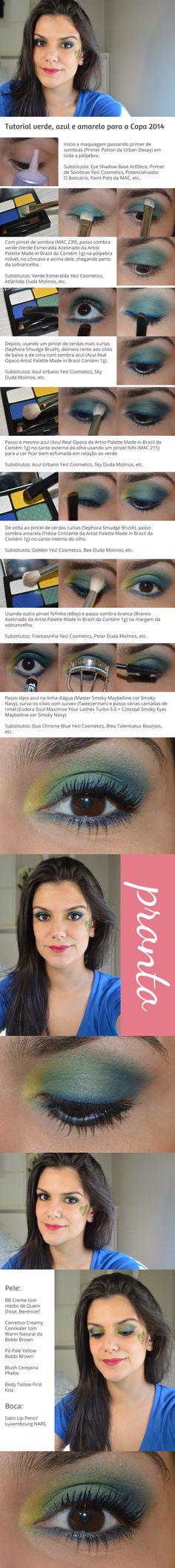 Tutorial: Verde, azul e amarelo para a Copa 2014 http://www.2beauty.com.br/blog/2014/05/30/tutorial-verde-azul-e-amarelo-para-a-copa-2014/ #tutorial #VaiTerCopa