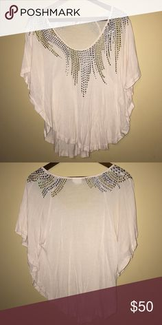 Free people Top Cream colored with gold and silver studs. No known defects. Feel free to make an offer! Free gift with purchase. T003 Free People Tops Blouses