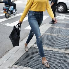 Hello sunshine! New this season is the #samanthacroppedsweatshirt - seen here in Mustard. Pair with your high waisted skinnies, leopard #miriammule + the #mamuyetote to make a statement!