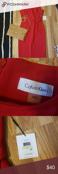 Calvin Klein Dress New with tags! Beautiful bright red dress! Perfect for the office or a night out! Calvin Klein Dresses Midi