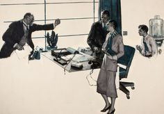Mainstream Illustration, SAUL TEPPER (American, 1899-1987). Couple in Modern Office,1931. Oil on canvas. 28 x 41 in.. Initialed center right. ...