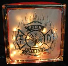 firefighter sandblasted glass block light | WalshDesigns - Housewares on ArtFire Volunteer Firefighter, Firefighter Gifts, Firefighters Wife, Firemen, Firefighter Family, Firefighter Wedding, Firefighter Paramedic, Firefighter Cross, Firefighter Quotes