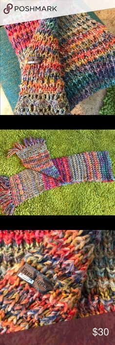 🎁🌲Free People Wool Knit Scarf/Shawl/Wrap Stunning wool multicolored knit wrap, scarf, shawl MULTI uses! GORGEOUS!  Smoke free home! Free People Other