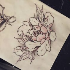#flower #tattoo #line #black #newtraditional #rose #neotraditionel neo traditionel #illustration #draw #drawing #ink #inked #pivoines