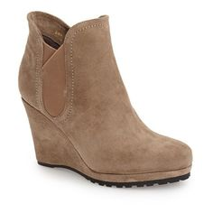 """VANELi 'Jara' Wedge Bootie, 3 1/2"""" heel ($200) ❤ liked on Polyvore featuring shoes, boots, ankle booties, ankle boots, taupe nival suede, short boots, high heel boots, wedge bootie, platform booties and wedge booties"""