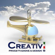 Creativi Design | Pendant Helicopter 3D Jewel Model Rhinoceros Pendant