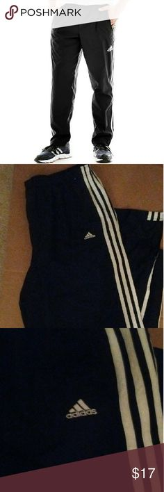 ADIDAS ESSENTIAL WOVEN TRACK PANTS XL EUC. Black with three white stripes on each side. Climate moisture-wicking fabric; sits at waist; elastic waist with drawstring; side-seam pockets; zipper bottom; polyester; washable Adidas Pants Track Pants & Joggers