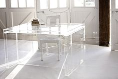 Top Acrylic Home Office Desks in Your Work Space: Acrylic Desk From Penny Farthing Design House ~ jillyshappyhome.com Office Room Inspiration