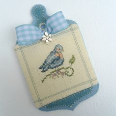 Bluebird cross stitch ornament
