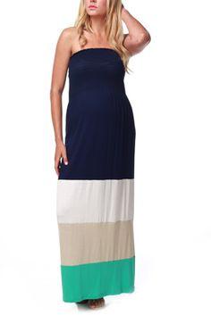 Navy Blue Taupe Aqua Colorblock Maternity Maxi Dress