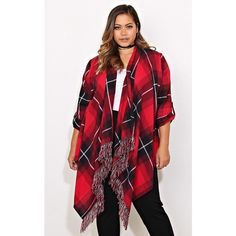 Plus Woven Flannel Wrap Top ($25) ❤ liked on Polyvore featuring plus size women's fashion, plus size clothing, plus size tops, plus size, red combo, woven top, tassel top, red wrap top, plus size wrap top and tartan top