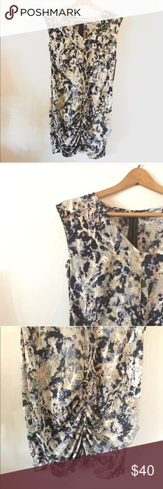 {U.K. Style by French Connection} Ruched Dress UK Style by French Connection Manhattan Moment Watercolor Printed Dress with a Ruched Front. NWT! It begs to be belted and paired with pumps! Size 4. French Connection Dresses