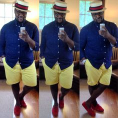   The Big Fashion Guy   A little Nautical and Boater Style  Details: Shirt: Target Shorts: Meijer's Hat: by Arth Hats in NYC Shoes: asos.com