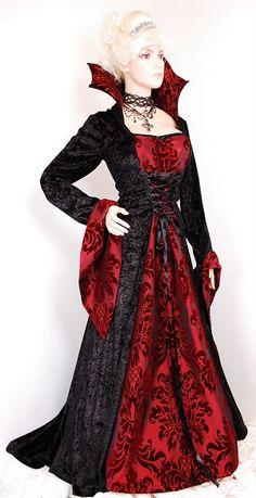 make sleeves elbow length, mini skirtBlack & burgundy fleur de lys vampire collar dress & train