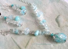 Pale Aqua Beaded Jewelry Set / Crackle Glass Jewelry / Women's V Necklace Set / Aqua Necklace and Earrings / Gift for Her / Gift for Mom by ARexrodeCreations on Etsy