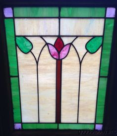 "Antique Chicago Bungalow Stained Leaded Glass Window 25"" x 20"" Green Boarder"