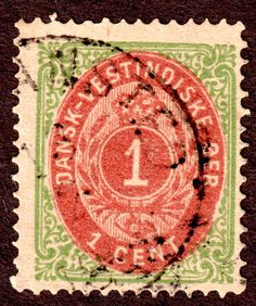 Danish West Indies Sc 5 1¢ Green and Burnt Red Used  F-VF Normal Frame