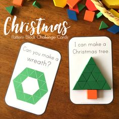 Christmas Pattern Block Challenge Cards - ready to print Christmas themed challenge cards to add to pattern blocks. Perfect for math centers, these cards are designed for use by beginning readers have a 2D shape focus as well | you clever monkey