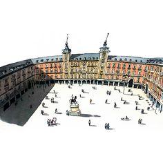 Foto Madrid, Urban Sketchers, Plaza, Urban Art, Beautiful Images, Graphic Art, Louvre, Around The Worlds, Europe