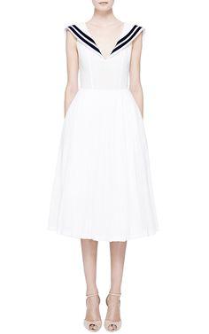 White Muslin Dress With Navy Collar by Natasha Zinko  Resort 2015 $1,810