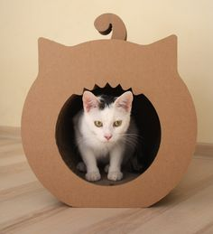 Cool DIY kitteh cardboard hangout. The original site is all in German, but maybe you could use Google translate if you really really wanted to make it.