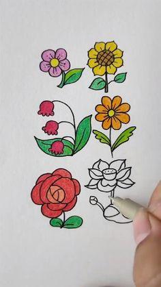 Easy Flower Drawings, Flower Art Drawing, Flower Drawing Tutorials, Easy Cartoon Drawings, Doodle Art Drawing, Cute Easy Drawings, Art Drawings For Kids, Easy Drawing Tutorial, Art Drawings Sketches Simple