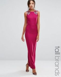 Little Mistress Tall Sleeveless Maxi Dress With Floral Embellished Shoulders