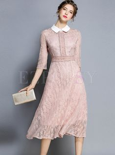 Shop Turn Down Collar Half Sleeve Hollow Out Lace Dress at EZPOPSY. Source by linenlake dress short Cheap Prom Dresses, Simple Dresses, Casual Dresses, Short Dresses, Pink Dress Casual, Skater Dresses, Bridesmaid Dresses, Blush Pink Dresses, Coral Dress
