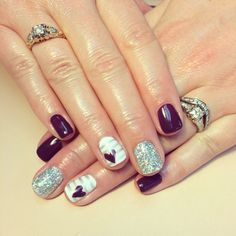 Nail art. Plum, silver, glitter and heart nails. Shellac. Free hand nails. SDshellac Queen.