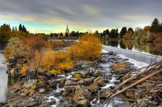 The falls in Idaho Falls, Idaho.