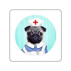 Nurse Pug Mug Coaster