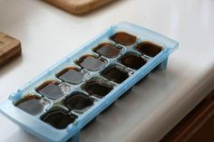 Left over coffee...Freeze it in an ice cube tray. Put in a blender with your favorite coffee creamer to make a frappuccino. LOVE this idea!