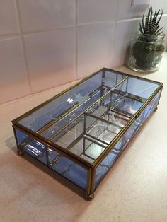 Vintage Brass Blue Glass etched Table Top Curio Cabinet Display Shelf Case box