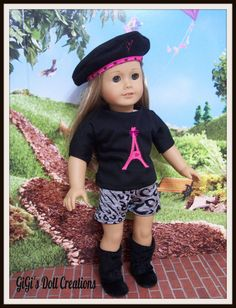 Pink Eiffel Tower with Animal print clothing by GiGisDollCreations