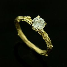 Organic Design Vintage Style Diamond 18K Yellow Gold Engagement Ring. $1,999.00, via Etsy.