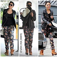 #SpringBreakers #starlet #VanessaHudgens #rocked #floral #sweatpants with #fringedbooties while #running #errands in #LosAngeles #Friday.The #fit 25-year-old #actress paired her #SoulCycle #trousers with a #blacktop and #motorcyclejacket as she #strolled through a #car-#park.The half-#Filipina #beauty pulled her #raven #locks back into a #messyupdo, but still #looked #flawless with #minimal #makeup.... - Celebrity Fashion